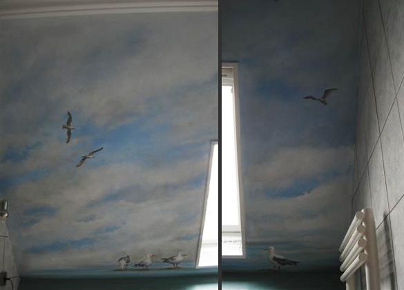 peinture murale d 39 un ciel nuageux avec des mouettes dans. Black Bedroom Furniture Sets. Home Design Ideas